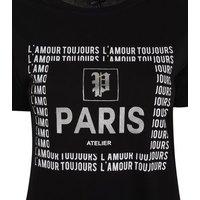 Black Metallic Paris Slogan T-Shirt New Look