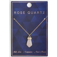 Pink Semi Precious Rose Quartz Pendant Necklace New Look