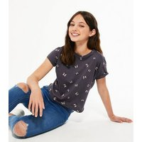 Girls Grey Butterfly T-Shirt New Look