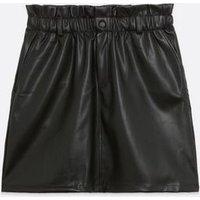 Noisy May Black Leather-Look High Waist Skirt New Look