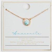 Blue Semi Precious Amazonite Pendant Necklace New Look
