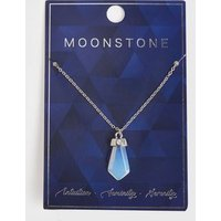 Silver Semi Precious Moonstone Pendant Necklace New Look