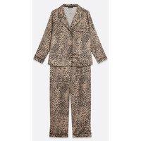 Curves Brown Leopard Print Satin Pyjama Set New Look