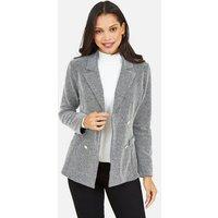 Mela Grey Double Breasted Jacket New Look