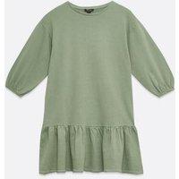 Olive Acid Wash Frill Sweatshirt Dress New Look