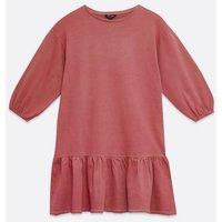 Mid Pink Acid Wash Frill Sweatshirt Dress New Look