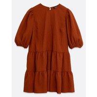 Petite Rust Textured Puff Sleeve Smock Dress New Look