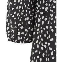 Black Spot Tie Waist Tiered Midi Dress New Look