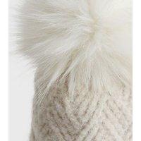 Cream Soft Chevron Knit Faux Fur Bobble Hat New Look