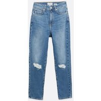Blue Ripped Knee Waist Enhance Tori Mom Jeans New Look