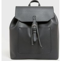 Black Leather-Look Buckle Backpack New Look Vegan
