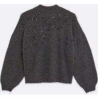Petite Dark Grey Bead Embellished Jumper New Look