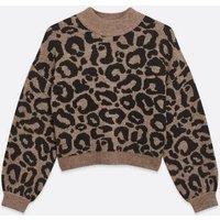 Petite Brown Leopard Print Jumper New Look