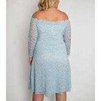 Aarya Curve Pale Blue Lace Bardot Dress New Look