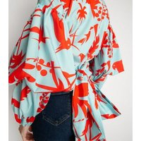 Miss Attire Blue Tropical Wrap Puff Sleeve Top New Look