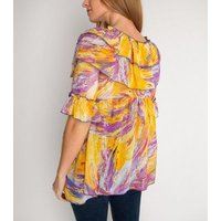 Miss Attire Yellow Mixed Print Frill Blouse New Look
