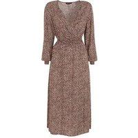 Brown Leopard Print Long Sleeve Wrap Midi Dress New Look