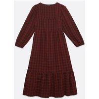 Dark Red Check Square Neck Smock Midi Dress New Look