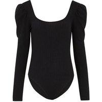 Black Square Neck Puff Sleeve Bodysuit New Look