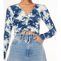 Blue Tie Dye Ribbed Ruched Front Top New Look