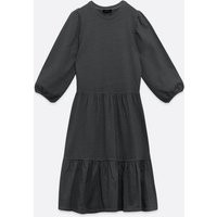 Black Acid Wash Jersey Tiered Smock Dress New Look