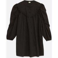 JDY Black Crochet Frill Puff Sleeve Dress New Look