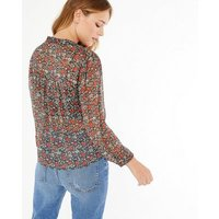 JDY Black Floral Chiffon Puff Sleeve Blouse New Look