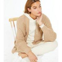 Camel Chunky Knit Puff Sleeve Cardigan New Look