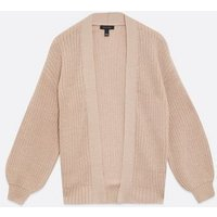 Light Brown Chunky Knit Puff Sleeve Cardigan New Look