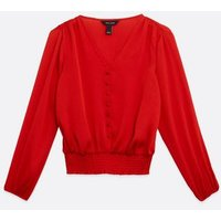 Red Satin Shirred Blouse New Look