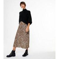Brown Leopard Print Satin Midi Skirt New Look