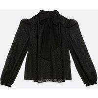 Black Chiffon Spot Tie Neck Blouse New Look