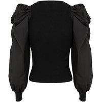 Black Poplin Puff Sleeve Ribbed Jumper New Look