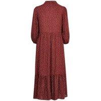 Rust Spot Puff Sleeve Tiered Midi Shirt Dress New Look