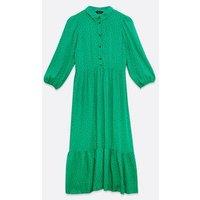 Green Spot Puff Sleeve Tiered Midi Shirt Dress New Look