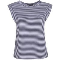 Cameo Rose Blue Stripe Padded Shoulder Top New Look