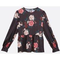 Black Floral Peplum Blouse New Look