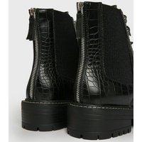Black Faux Croc Chunky Chelsea Boots New Look Vegan