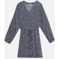 JDY Blue Animal Print Tie Waist Mini Dress New Look