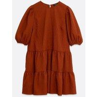 Tall Rust Textured Puff Sleeve Smock Dress New Look