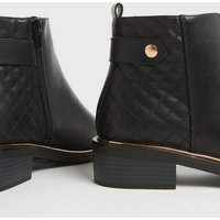 Wide Fit Black Quilted Metal Trim Ankle Boots New Look Vegan