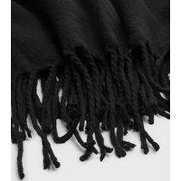 Black Plain Tassel Trim Scarf New Look