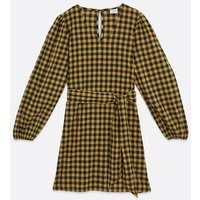 JDY Yellow Gingham Puff Sleeve Dress New Look
