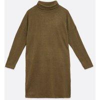 JDY Khaki Jersey Cowl Neck Long Sleeve Dress New Look