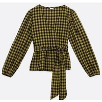 JDY Black Check Long Sleeve Wrap Top New Look