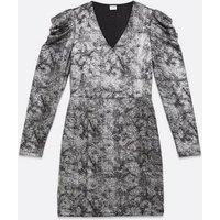JDY Silver Glitter Puff Sleeve Mini Dress New Look