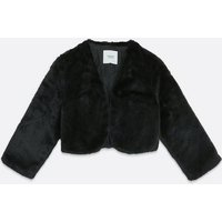 JDY Black Faux Fur Crop Jacket New Look