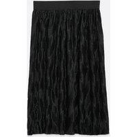 JDY Black Plissé Midi Skirt New Look
