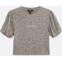 Girls Grey Ribbed Knit Slogan Puff Sleeve Top New Look