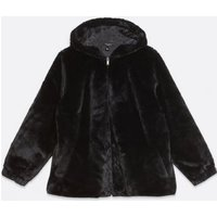 Curves Black Faux Fur Hooded Bomber Jacket New Look